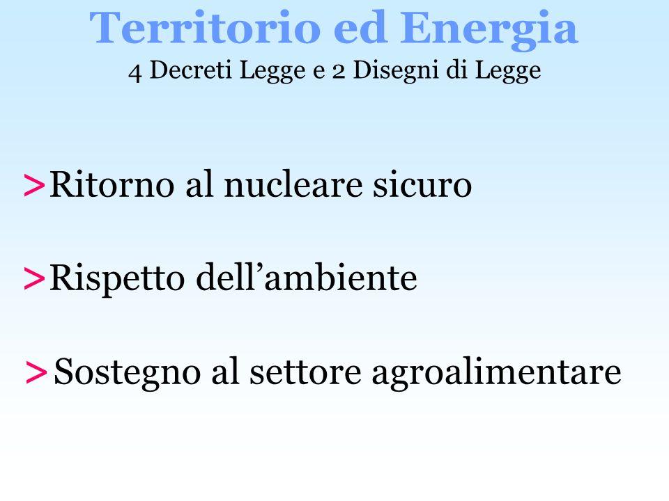 > Ritorno al nucleare sicuro > Rispetto dellambiente > Sostegno al settore agroalimentare Territorio ed Energia 4 Decreti Legge e 2 Disegni di Legge