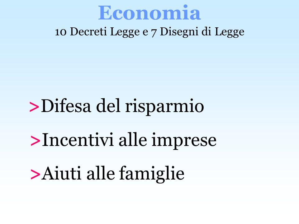 >Difesa del risparmio >Incentivi alle imprese >Aiuti alle famiglie Economia 10 Decreti Legge e 7 Disegni di Legge