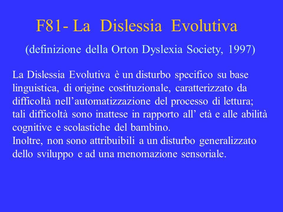 F81- La Dislessia Evolutiva (definizione della Orton Dyslexia Society, 1997) La Dislessia Evolutiva è un disturbo specifico su base linguistica, di or