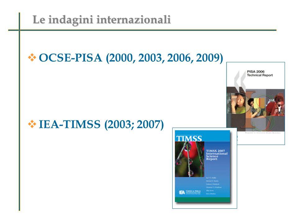 OCSE-PISA (2000, 2003, 2006, 2009) IEA-TIMSS (2003; 2007) Le indagini internazionali