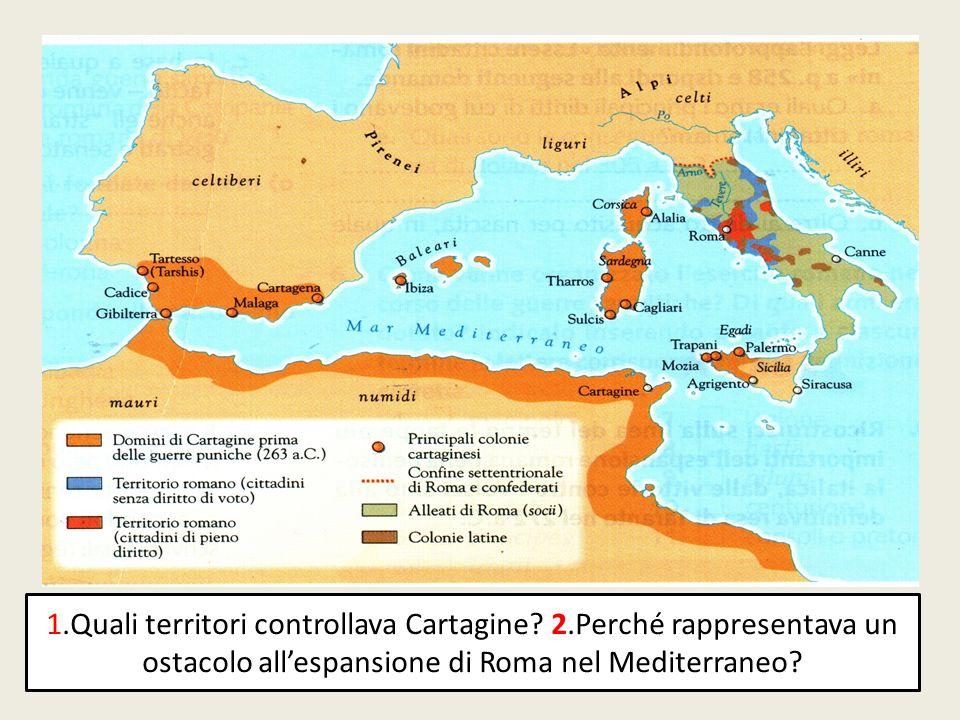 1.Quali territori controllava Cartagine? 2.Perché rappresentava un ostacolo allespansione di Roma nel Mediterraneo?