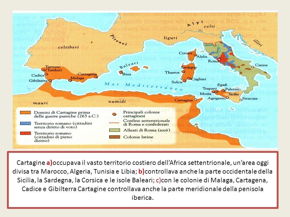 Cartagine a)occupava il vasto territorio costiero dellAfrica settentrionale, unarea oggi divisa tra Marocco, Algeria, Tunisia e Libia; b)controllava a