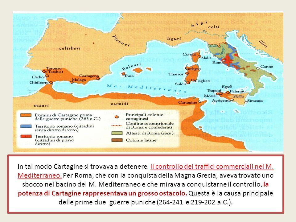 In tal modo Cartagine si trovava a detenere il controllo dei traffici commerciali nel M. Mediterraneo. Per Roma, che con la conquista della Magna Grec