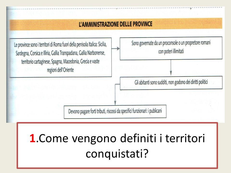 1.Come vengono definiti i territori conquistati?