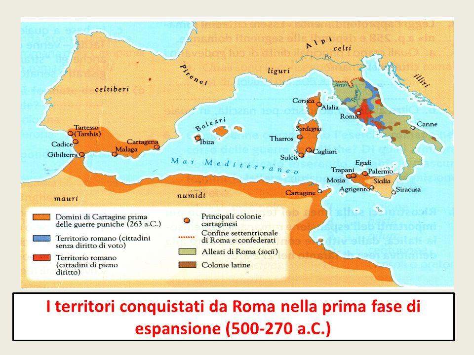 Quale situazione rappresenta la carta.A)Lorganizzazione dei territori conquistati dopo il 270 a.C.