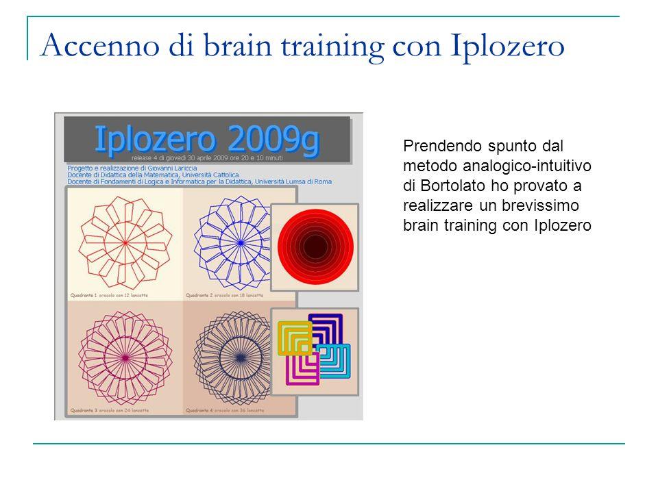 Accenno di brain training con Iplozero Prendendo spunto dal metodo analogico-intuitivo di Bortolato ho provato a realizzare un brevissimo brain training con Iplozero