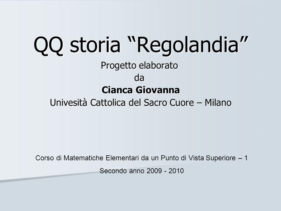 QQ storia Regolandia Progetto elaborato da Cianca Giovanna Cianca Giovanna Univesità Cattolica del Sacro Cuore – Milano Univesità Cattolica del Sacro