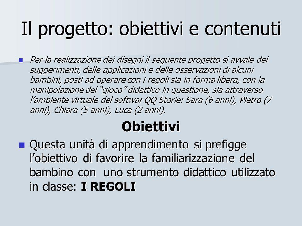 Il progetto: obiettivi e contenuti Per la realizzazione dei disegni il seguente progetto si avvale dei suggerimenti, delle applicazioni e delle osserv