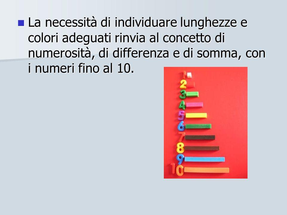 La necessità di individuare lunghezze e colori adeguati rinvia al concetto di numerosità, di differenza e di somma, con i numeri fino al 10. La necess