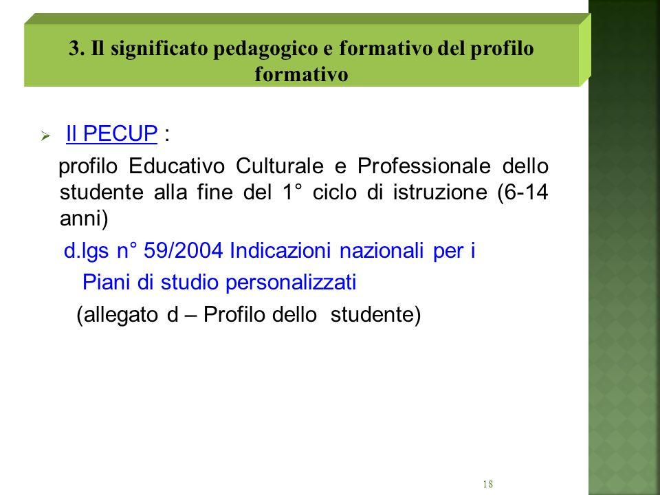 18 Il PECUP : profilo Educativo Culturale e Professionale dello studente alla fine del 1° ciclo di istruzione (6-14 anni) d.lgs n° 59/2004 Indicazioni