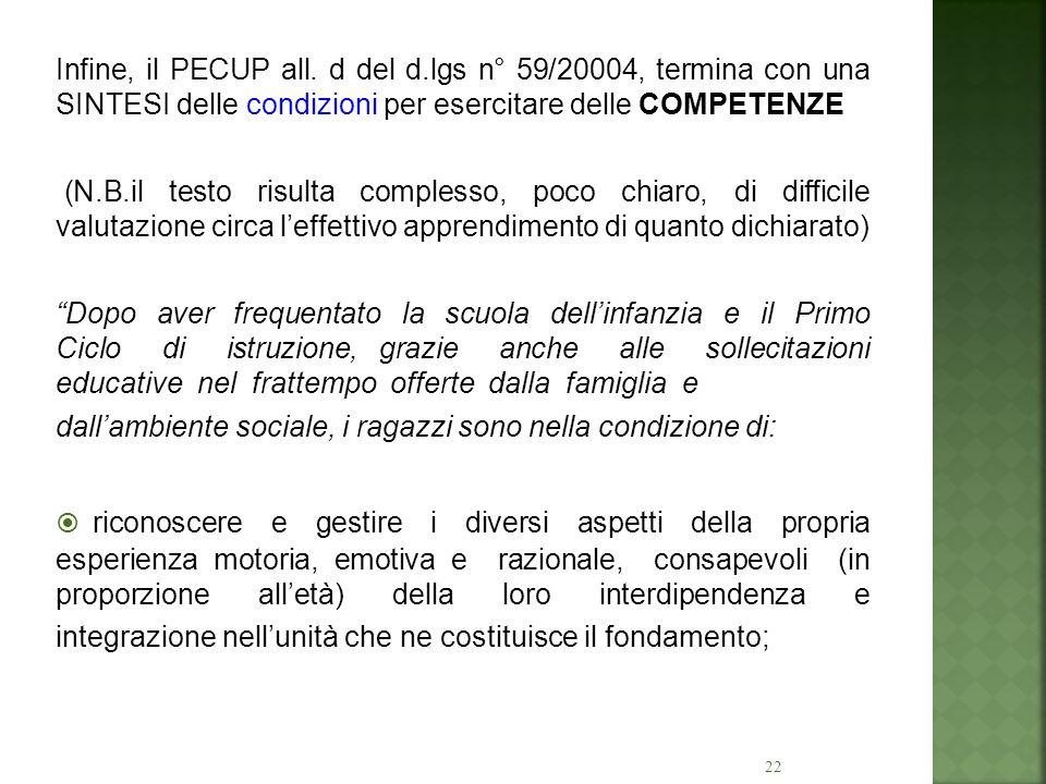 22 Infine, il PECUP all. d del d.lgs n° 59/20004, termina con una SINTESI delle condizioni per esercitare delle COMPETENZE (N.B.il testo risulta compl