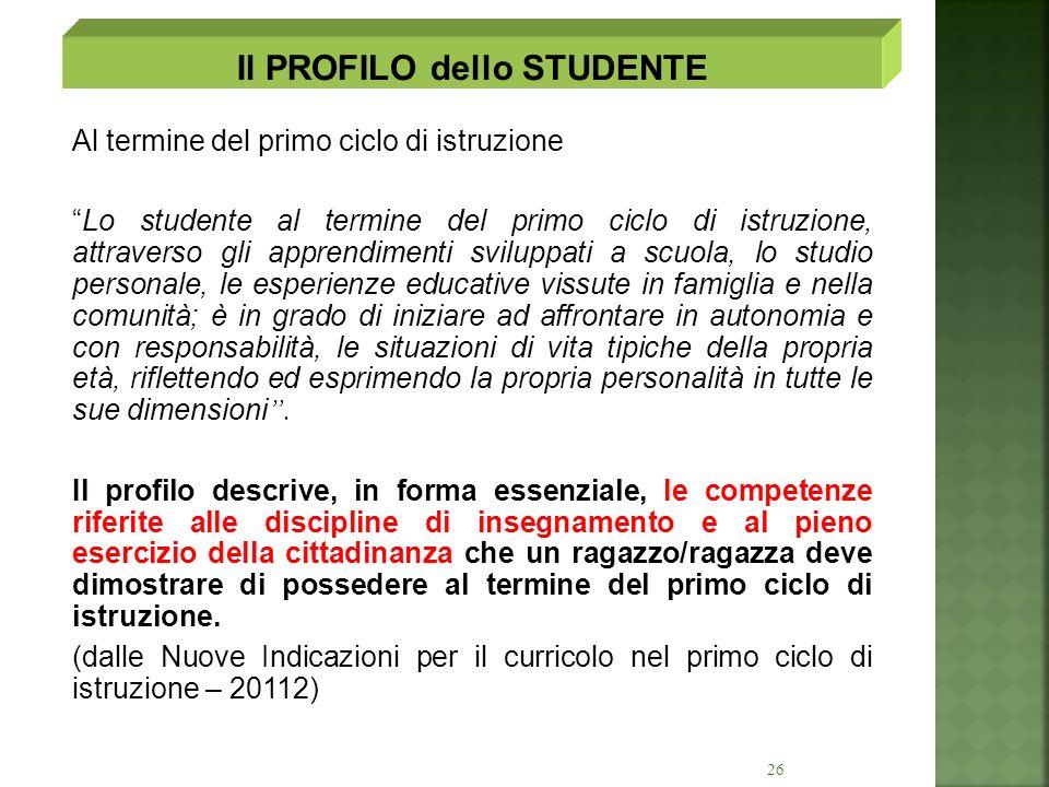 26 Al termine del primo ciclo di istruzione Lo studente al termine del primo ciclo di istruzione, attraverso gli apprendimenti sviluppati a scuola, lo