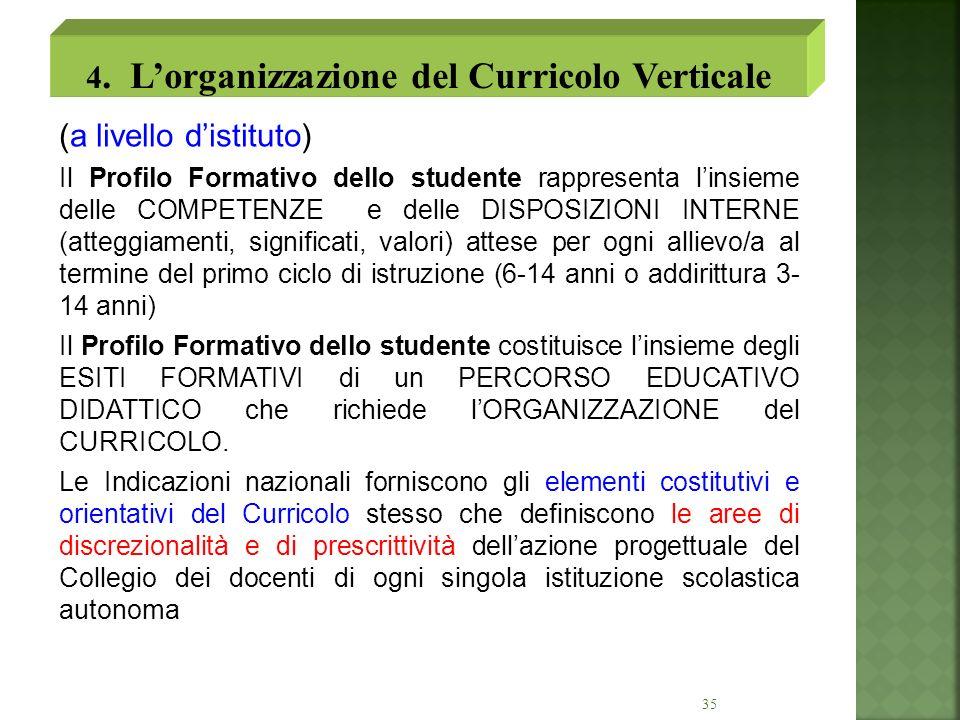 35 (a livello distituto) Il Profilo Formativo dello studente rappresenta linsieme delle COMPETENZE e delle DISPOSIZIONI INTERNE (atteggiamenti, signif