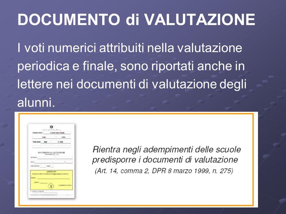 DOCUMENTO di VALUTAZIONE I voti numerici attribuiti nella valutazione periodica e finale, sono riportati anche in lettere nei documenti di valutazione degli alunni.