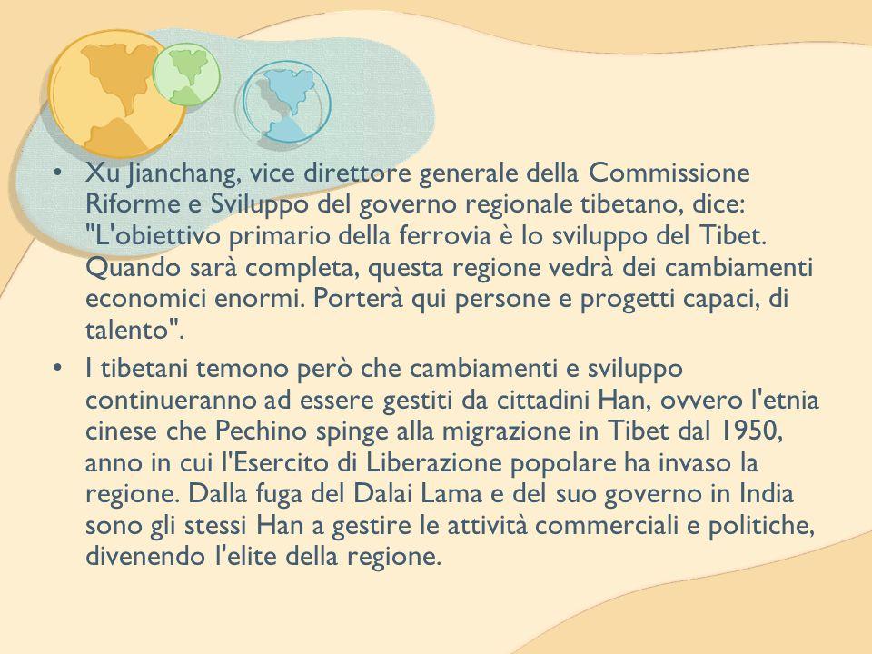 Xu Jianchang, vice direttore generale della Commissione Riforme e Sviluppo del governo regionale tibetano, dice: