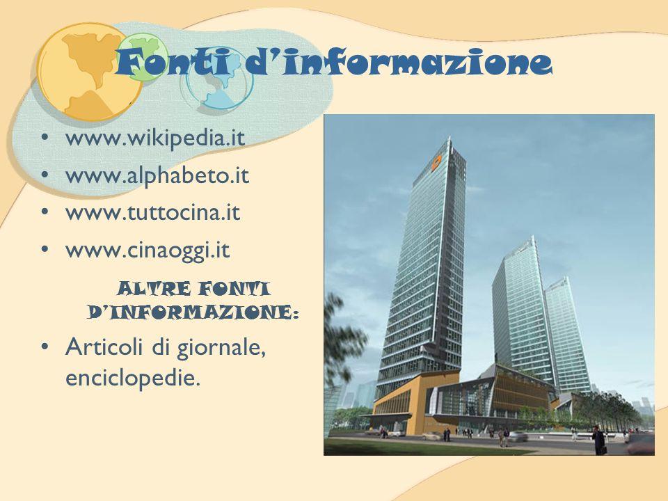 Fonti dinformazione www.wikipedia.it www.alphabeto.it www.tuttocina.it www.cinaoggi.it ALTRE FONTI DINFORMAZIONE: Articoli di giornale, enciclopedie.