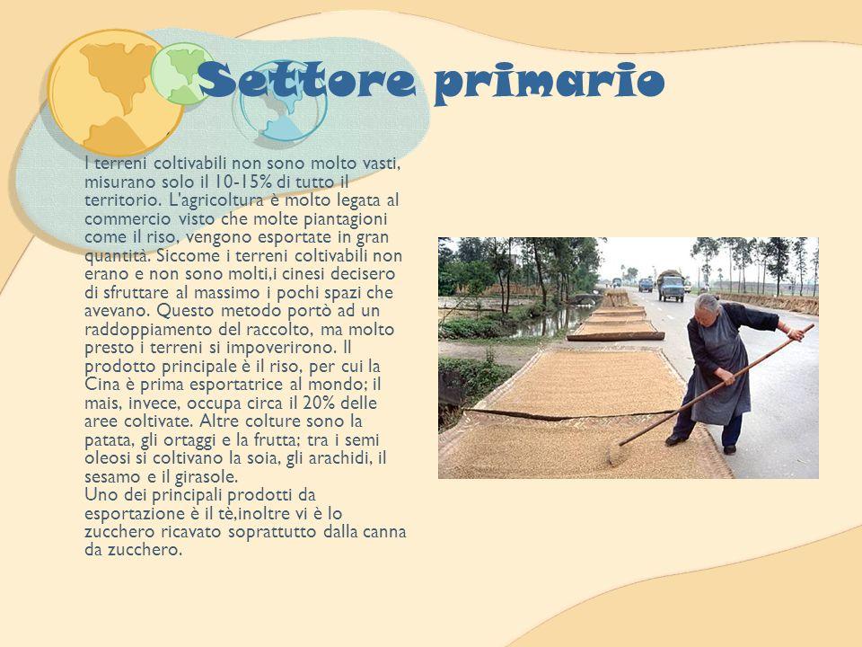 Settore primario I terreni coltivabili non sono molto vasti, misurano solo il 10-15% di tutto il territorio. L'agricoltura è molto legata al commercio