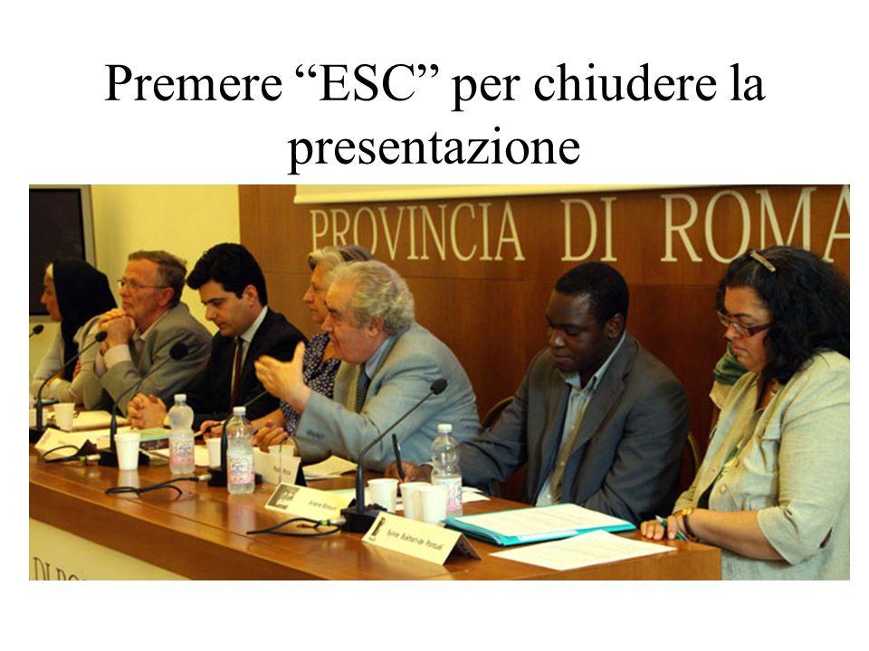 Premere ESC per chiudere la presentazione