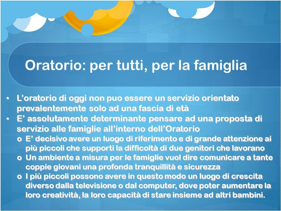 Oratorio: per tutti, per la famiglia Loratorio di oggi non puo essere un servizio orientato prevalentemente solo ad una fascia di età Loratorio di ogg