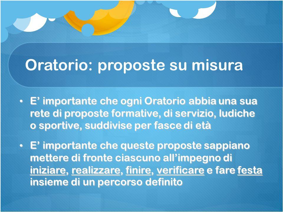 Oratorio: proposte su misura E importante che ogni Oratorio abbia una sua rete di proposte formative, di servizio, ludiche o sportive, suddivise per f