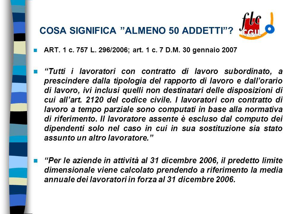 COSA SIGNIFICA ALMENO 50 ADDETTI. ART. 1 c. 757 L.