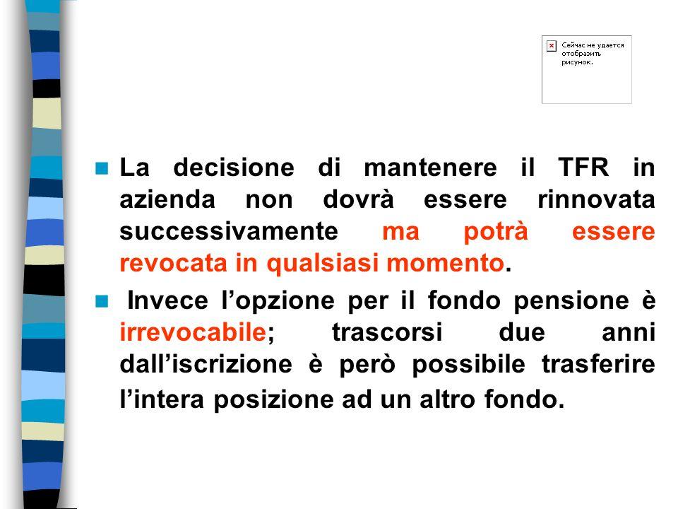 La decisione di mantenere il TFR in azienda non dovrà essere rinnovata successivamente ma potrà essere revocata in qualsiasi momento.