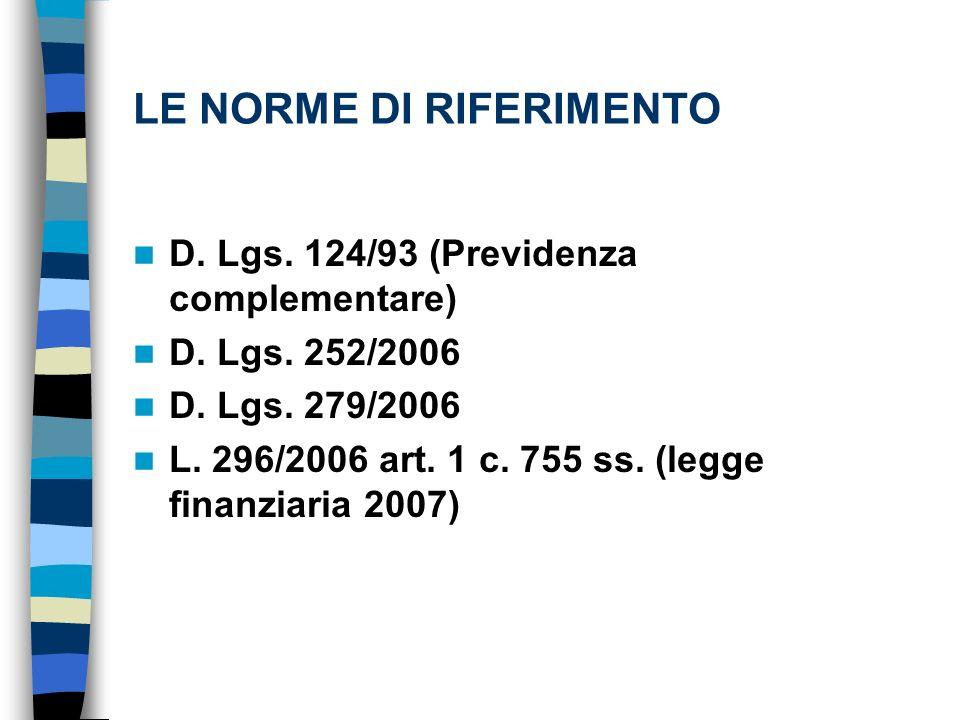 LE NORME DI RIFERIMENTO D. Lgs. 124/93 (Previdenza complementare) D.
