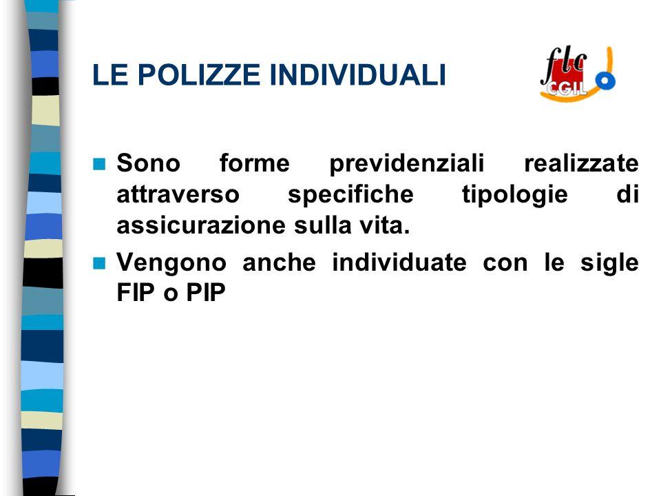 LE POLIZZE INDIVIDUALI Sono forme previdenziali realizzate attraverso specifiche tipologie di assicurazione sulla vita.