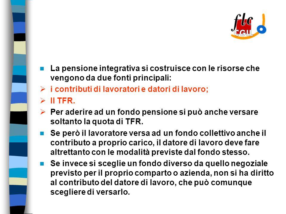 La pensione integrativa si costruisce con le risorse che vengono da due fonti principali: i contributi di lavoratori e datori di lavoro; Il TFR.
