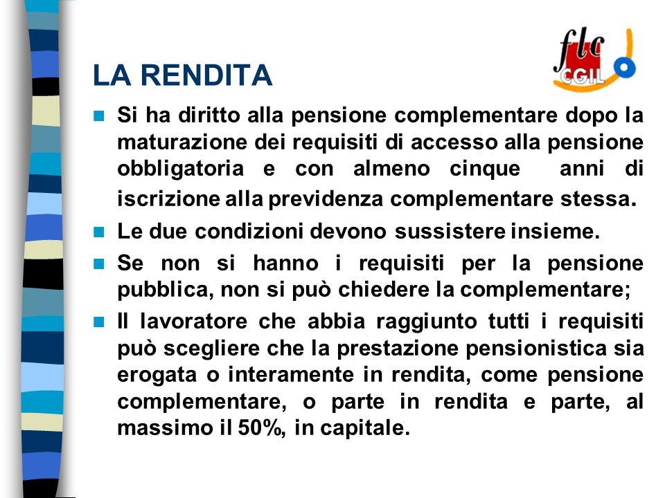 LA RENDITA Si ha diritto alla pensione complementare dopo la maturazione dei requisiti di accesso alla pensione obbligatoria e con almeno cinque anni di iscrizione alla previdenza complementare stessa.