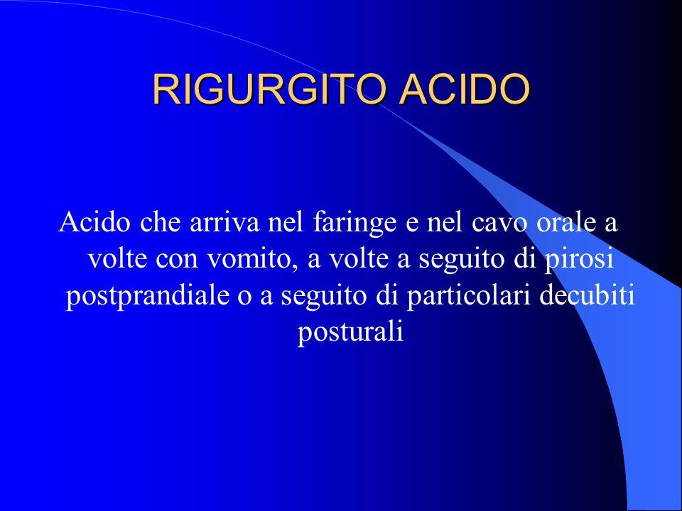 RIGURGITO ACIDO Acido che arriva nel faringe e nel cavo orale a volte con vomito, a volte a seguito di pirosi postprandiale o a seguito di particolari