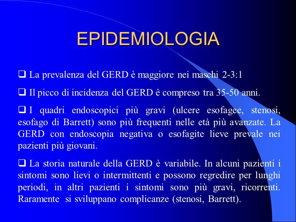EPIDEMIOLOGIA La prevalenza del GERD è maggiore nei maschi 2-3:1 Il picco di incidenza del GERD è compreso tra 35-50 anni. I quadri endoscopici più gr