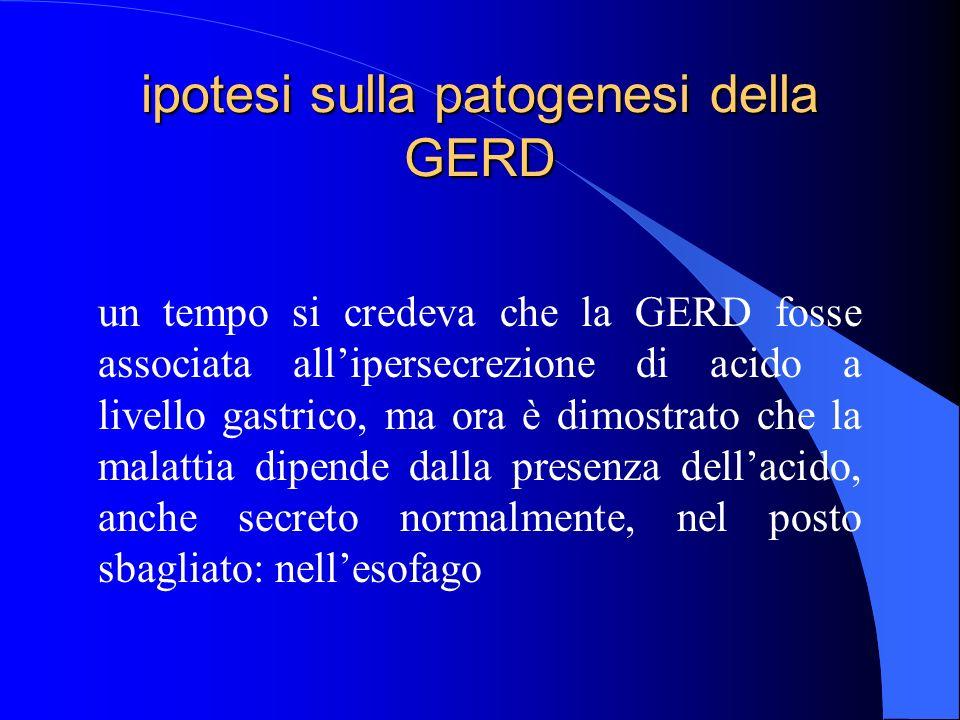 ipotesi sulla patogenesi della GERD un tempo si credeva che la GERD fosse associata allipersecrezione di acido a livello gastrico, ma ora è dimostrato