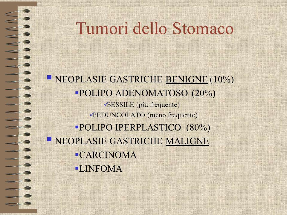 Tumori dello Stomaco NEOPLASIE GASTRICHE BENIGNE (10%) POLIPO ADENOMATOSO (20%) SESSILE (più frequente) PEDUNCOLATO (meno frequente) POLIPO IPERPLASTI