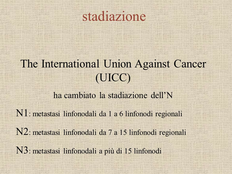 stadiazione The International Union Against Cancer (UICC) ha cambiato la stadiazione dellN N1 : metastasi linfonodali da 1 a 6 linfonodi regionali N2