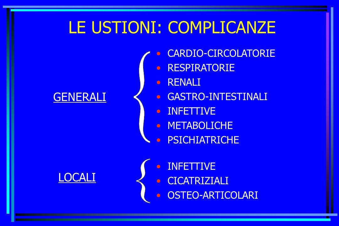 LE USTIONI: COMPLICANZE GENERALI LOCALI CARDIO-CIRCOLATORIE RESPIRATORIE RENALI GASTRO-INTESTINALI INFETTIVE METABOLICHE PSICHIATRICHE INFETTIVE CICAT