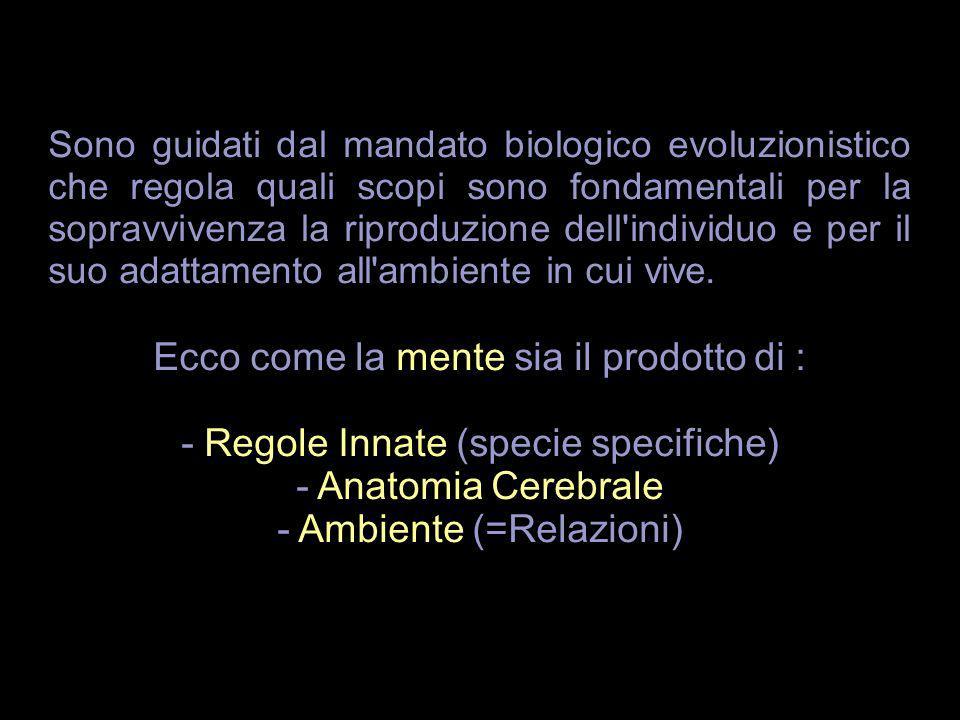 Sono guidati dal mandato biologico evoluzionistico che regola quali scopi sono fondamentali per la sopravvivenza la riproduzione dell'individuo e per