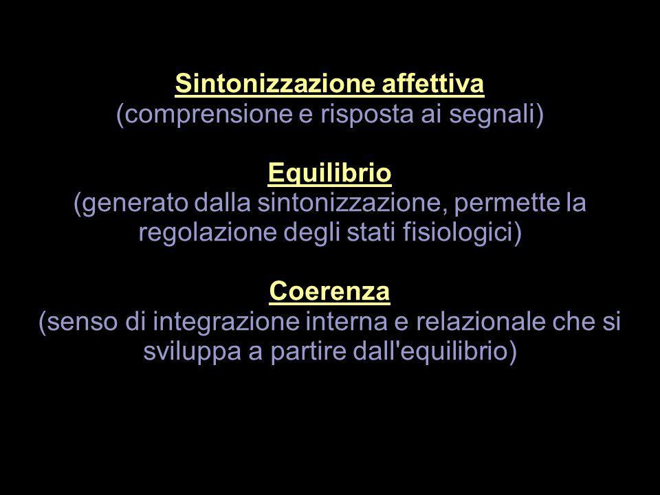 Sintonizzazione affettiva (comprensione e risposta ai segnali) Equilibrio (generato dalla sintonizzazione, permette la regolazione degli stati fisiolo