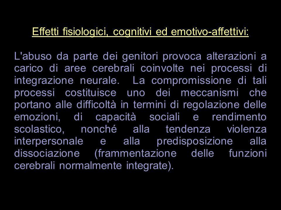 Effetti fisiologici, cognitivi ed emotivo-affettivi: L'abuso da parte dei genitori provoca alterazioni a carico di aree cerebrali coinvolte nei proces