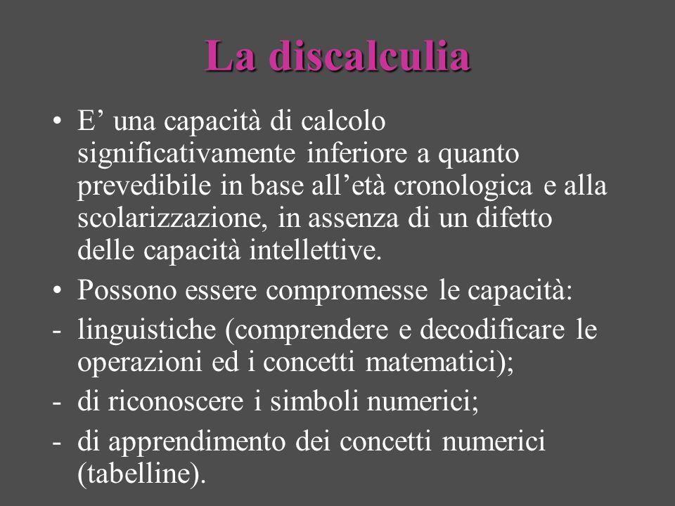 La discalculia E una capacità di calcolo significativamente inferiore a quanto prevedibile in base alletà cronologica e alla scolarizzazione, in assen
