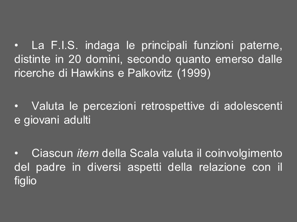 La Scala NFS si compone di 9 item, ognuno dei quali ha lobiettivo di indagare a posteriori la valutazione che il soggetto compie circa la presenza del padre negli anni della sua preadolescenza e adolescenza.