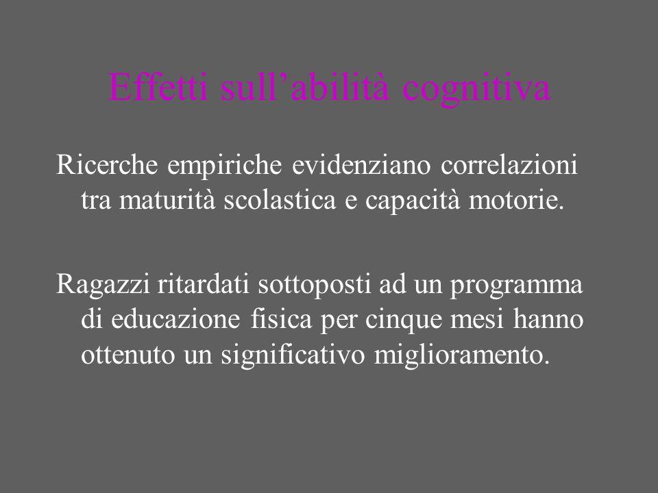 Effetti sullabilità cognitiva Ricerche empiriche evidenziano correlazioni tra maturità scolastica e capacità motorie.