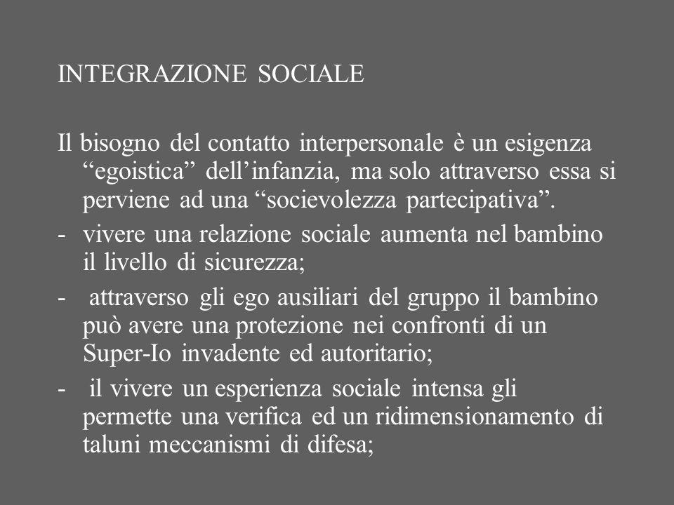 INTEGRAZIONE SOCIALE Il bisogno del contatto interpersonale è un esigenza egoistica dellinfanzia, ma solo attraverso essa si perviene ad una socievolezza partecipativa.