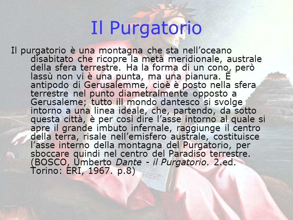Il Purgatorio Il purgatorio è una montagna che sta nelloceano disabitato che ricopre la metà meridionale, australe della sfera terrestre. Ha la forma