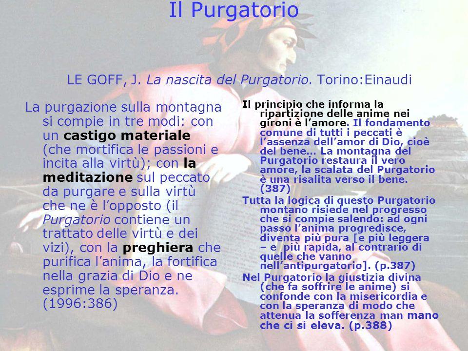 Il Purgatorio LE GOFF, J. La nascita del Purgatorio. Torino:Einaudi La purgazione sulla montagna si compie in tre modi: con un castigo materiale (che