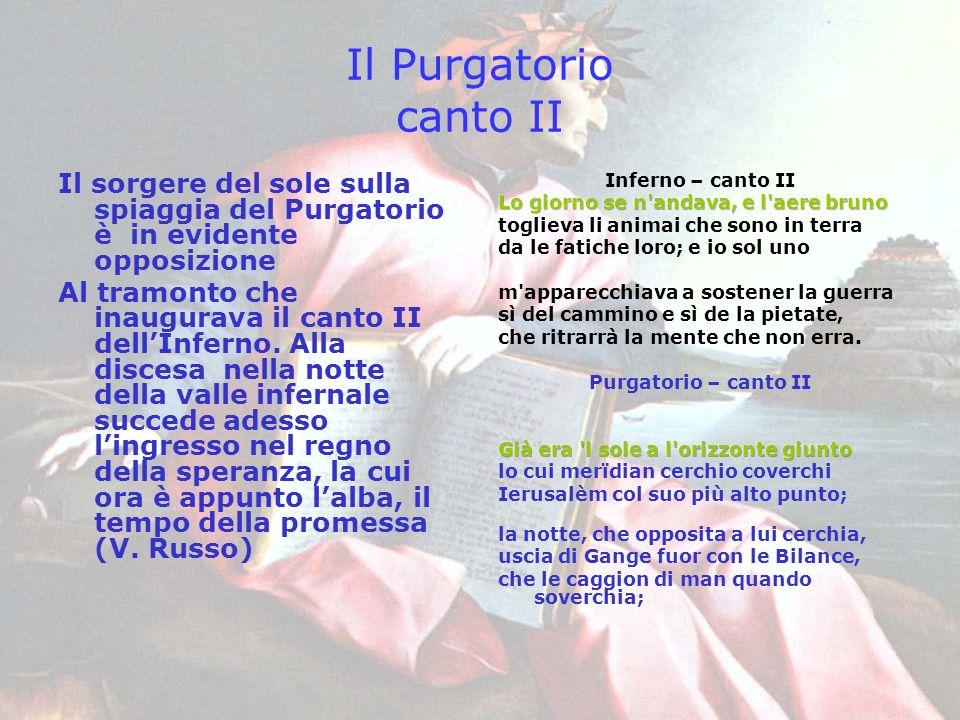 Il Purgatorio canto II Il sorgere del sole sulla spiaggia del Purgatorio è in evidente opposizione Al tramonto che inaugurava il canto II dellInferno.
