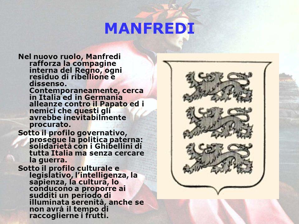 MANFREDI Nel nuovo ruolo, Manfredi rafforza la compagine interna del Regno, ogni residuo di ribellione e dissenso. Contemporaneamente, cerca in Italia