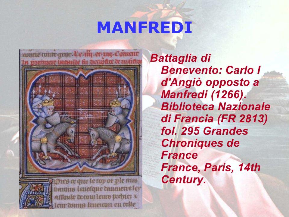 MANFREDI Battaglia di Benevento: Carlo I d'Angiò opposto a Manfredi (1266). Biblioteca Nazionale di Francia (FR 2813) fol. 295 Grandes Chroniques de F