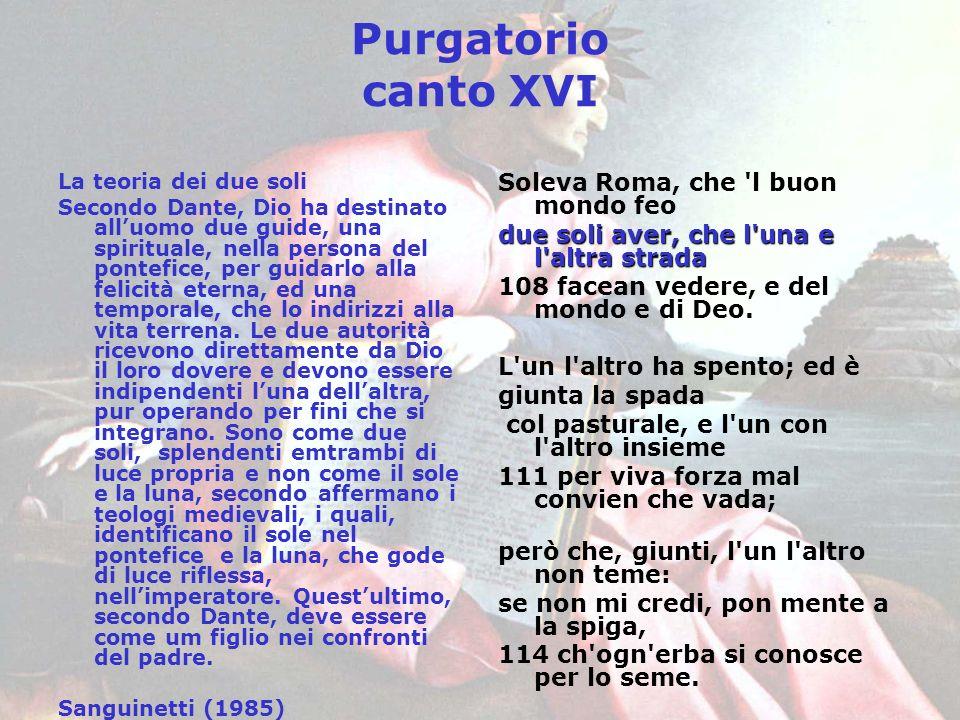 Purgatorio canto XVI La teoria dei due soli Secondo Dante, Dio ha destinato alluomo due guide, una spirituale, nella persona del pontefice, per guidar