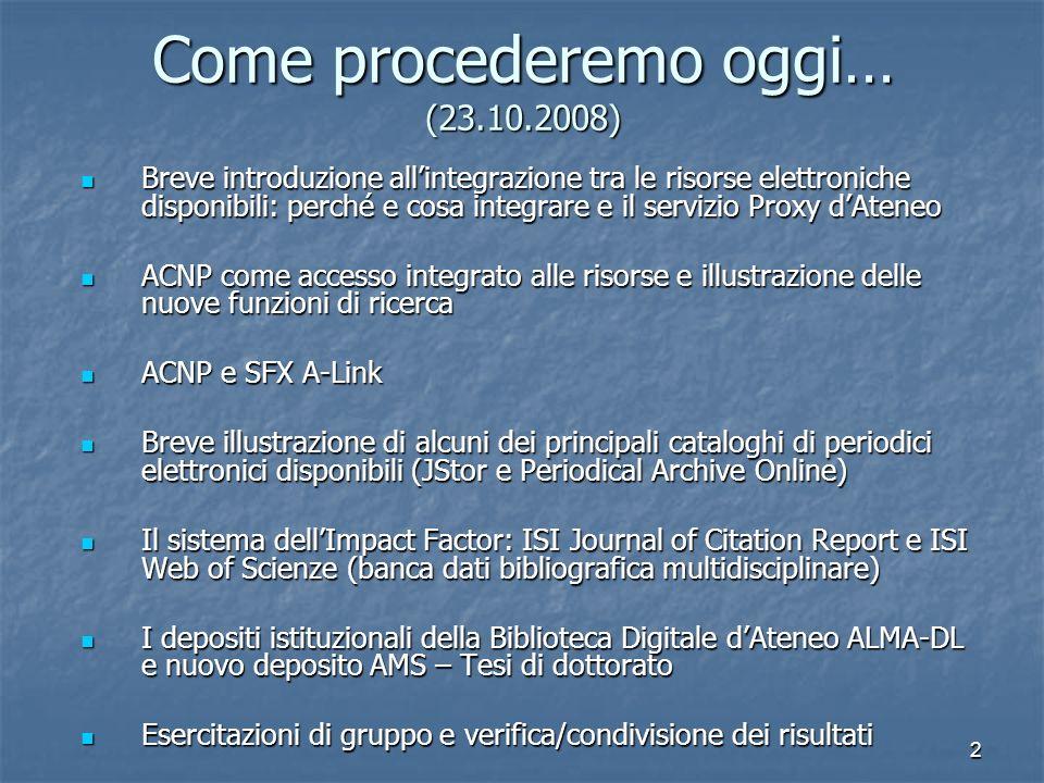 2 Come procederemo oggi… (23.10.2008) Breve introduzione allintegrazione tra le risorse elettroniche disponibili: perché e cosa integrare e il servizi
